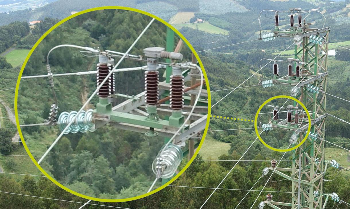 Revisiones e inspecciones avería torre eléctrica con dron